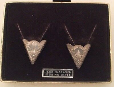 Fritch Brothers Silversmiths Sterling Silver Hand Engraved Western Collar Tips