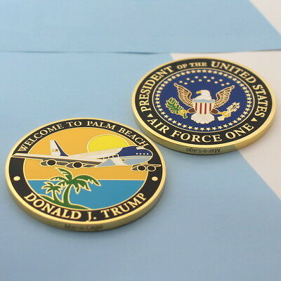 challenge coin DONALD TRUMP AIR FORCE ONE 1 Palm Beach Mar-a-Lago Florida Black