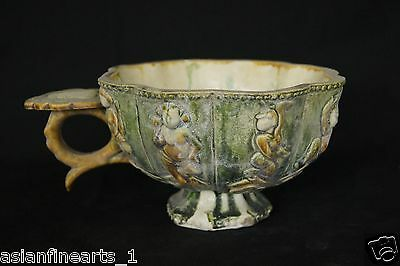 Old Tang Dynasty Tang San Cai Chinese Antique Pot w/ Raised Figures Pottery #494