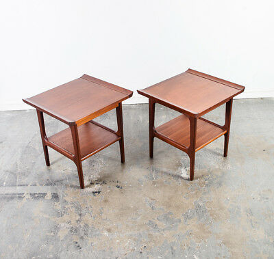 Mid Century Danish Modern End Tables Side Solid Teak Japanese Sculpted Vintage M