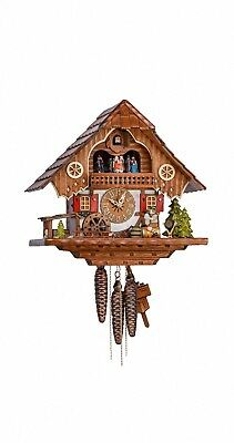 Cuckoo Clock Black forest house with music, turning dancers KA 3703 EX NEW