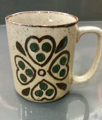 Vintage Stoneware Mug with Hearts - Green accents Japan Otagiri 3.5""