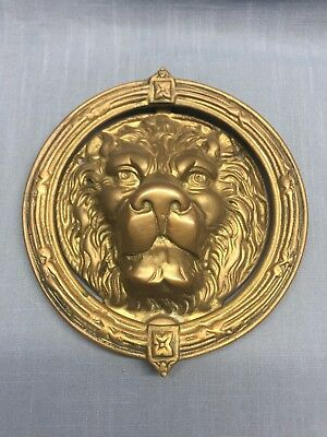 Vintage Heavy Large Brass Lion Head Face Door Knocker (B1)