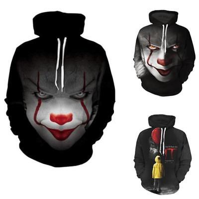 New Movie It Pennywise Clown Stephen King 3d Print Hoodies Horror Cosplay Sportswear Tracksuit Movie Hoody Sweatshirt Men's Clothing