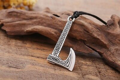 Vintage Pagan Viking Axe Anchor With Celtic Trinity Knot Pendant Amulet Necklace