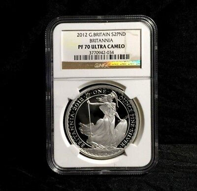 2012 Britannia NGC PF 70 Great Britain 1 oz £2 Proof Silver Coin No milk spot