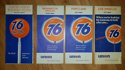 Union 76 Road Maps - Los Angeles, Portland, Washington & Oregon - Lot Of 4