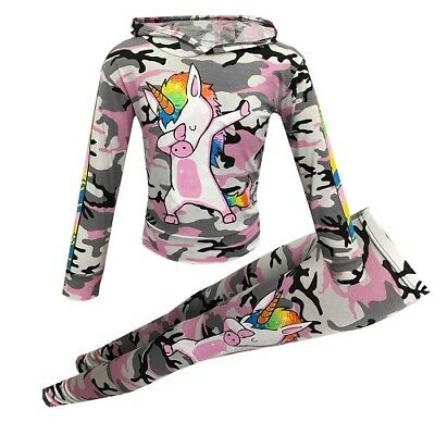 Girls Pink Camo Rainbow Unicorn Dab Floss Outfit Top Leggings Tracksuit Age 7-13