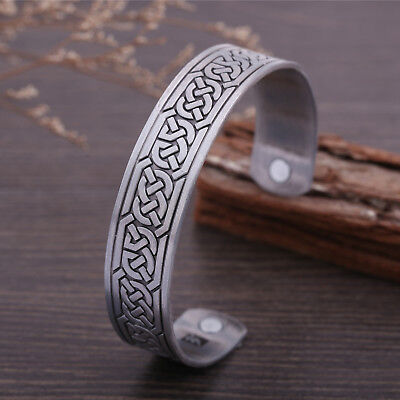Vintage Viking Celtic Cross Knot Magnetic Health Therapy Cuff Talisman Bracelet