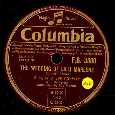 STEVE CONWAY  The Wedding of Lilli Marlene / In all the World  78rpm  S3906