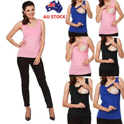 Breast Feeding Women Maternity Nursing Sleeveless Tank Tops Vest Blouse Shirt