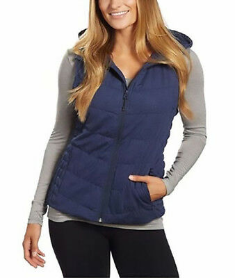 Be by Blanc Noir Women's Breathable Quilted Knit Hooded Vest /XL/ NAVY