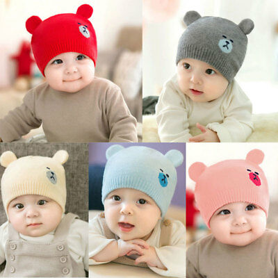 UK Newborn Kids Baby Boy Girl Pom Hat Winter Warm Crochet Knit Bobble Beanie Cap