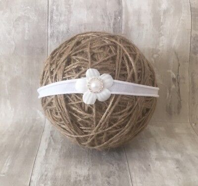 Baby White Flower Christening Nylon Headband Pearl Halo Baptism Wedding Girl