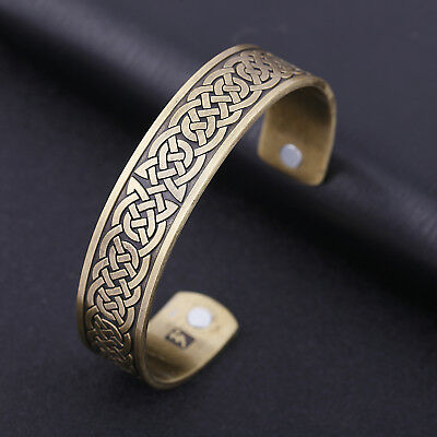 Ancient Nordic Viking Irish Celtic Knot Magnetic Healthcare Cuff Amulet Bracelet