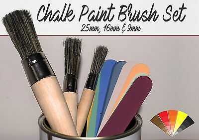 Chalk Paint Brushes (Set of 3) Traditional Wood Handles High Quality Shabby Chic