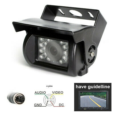 4 Pin CCD Bus Truck Trailer IR Night Vision Rear View Reversing Camera 12V-24V