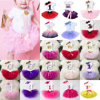 Baby Girls 1st First Birthday Dress Romper Tutu Princess Skirt Party Outfit Set