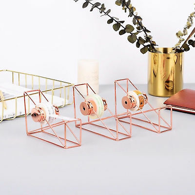 Hollow Tape Cutter Washi Storage Organizer Stationery Office Supplies Rose Gold