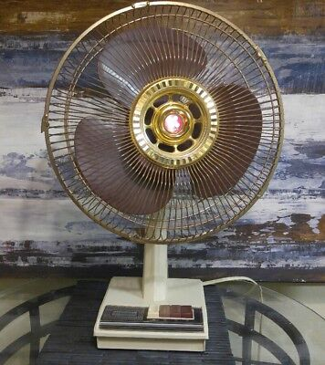 Vintage SCANDI Super Deluxe electric Fan GOLD 3 Speed OSCILLATING 12 Inch