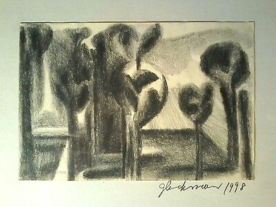 1998 Abstract Expressionist Signed Glickman Original Pencil Graphite Drawing
