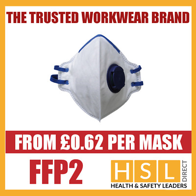 FFP2 Fold Flat Valved Disposable Dust Masks Respirator EN149 - MULTI LISTING