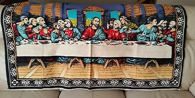 """Vintage Bold Colored Last Supper 54"""" x 38"""" Wall Hanging Tapestry Pre-owned"""