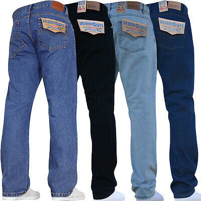 New Mens Straight Leg Basic Work Jeans Denim Pants All Waist Big King Tall Sizes
