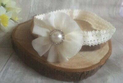 Baby Ivory Cream Flower Christening  Headband Pearl Halo Baptism Wedding Girl