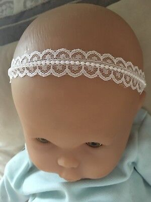 UK Baby White Christening Elastic Headband Lace Pearl Baptism Wedding Girl