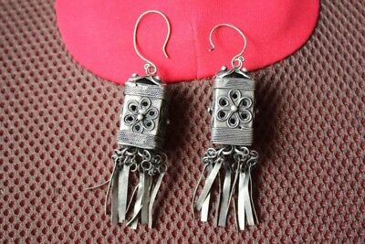 Tribal exotic chinese handmade miao silver tassel earring EH067