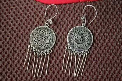 Tribal exotic chinese handmade miao silver earring EH071