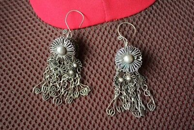 Tribal exotic chinese handmade miao silver earring EH072