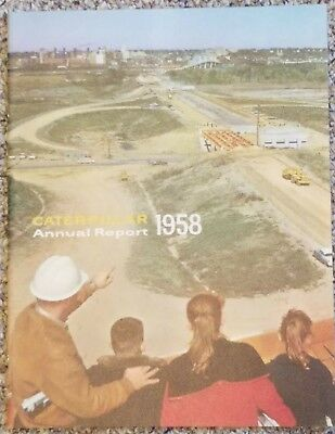Vintage 1958 Caterpillar Annual Report; Peoria IL Skyline and I-74 Construction
