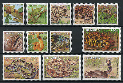 Uganda 1995 MNH Reptiles Definitives 12v Set Snakes Lizards Tortoises Stamps