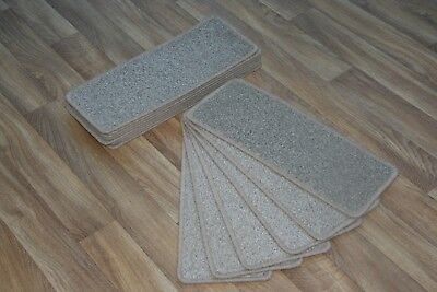 14 Open Plan Carpet Stair Treads Quality Frosted Beige Pads! 14 Large Pads!