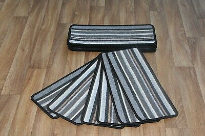14 Stripe Stair Case Treads Pad Tone Grey Pads! 14 Large Stripe Stair Pads