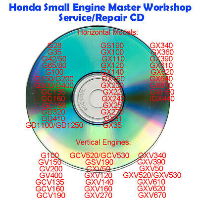 Honda Small Engine Master Workshop Service/Repair CDR Manual G GC GS GV GX GXV