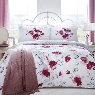 Dreams & Drapes CELESTINE Blush Pink Floral Duvet Cover Set / Bedding
