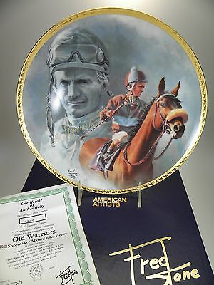 """Fred Stone Old Warriors Horse Collector Plate (#1305) 10""""(Signed Bill Shoemaker)"""