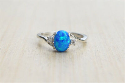 925 Silver Ring Vintage 2.3Ct Blue Fire Opal Women Wedding Engagement Size7