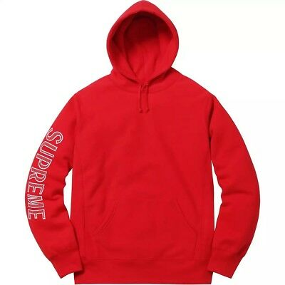 89242e609905 Supreme Sleeve Embroidered Hoodie RED Size XL SS18 In Hand DSWT