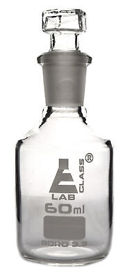 Reagent Bottle, Borosilicate, Narrow Mouth Hexagonal Stopper - 60ml - Eisco Labs