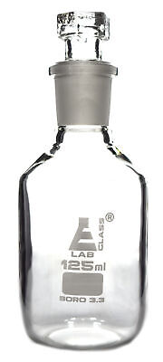 Reagent Bottle, Borosilicate, Narrow Mouth Hexagonal Stopper 125ml - Eisco Labs