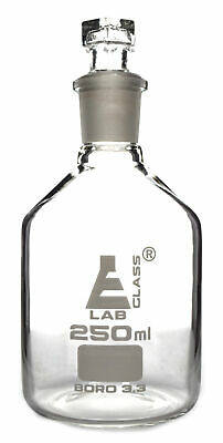 Reagent Bottle, Borosilicate, Narrow Mouth Hexagonal Stopper 250ml - Eisco Labs