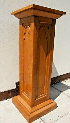 Large Gothic Oak Wooden Church Pedestal Display Stand Plinth Sculpture Stand