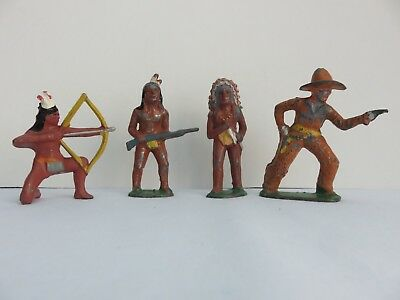 Vintage Lot of 4 Lead Toy Figures, 1 Cowboy with pistol & 3 Indians w/weapons