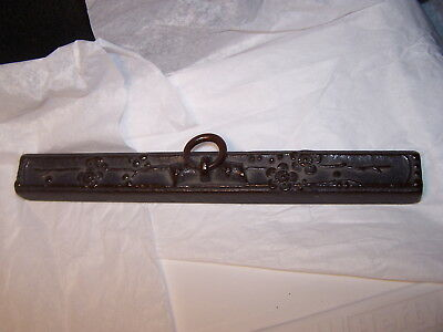 1  Japanese Bronze  /iron  Scroll Weight Holder Lotus Blossums Buy Now