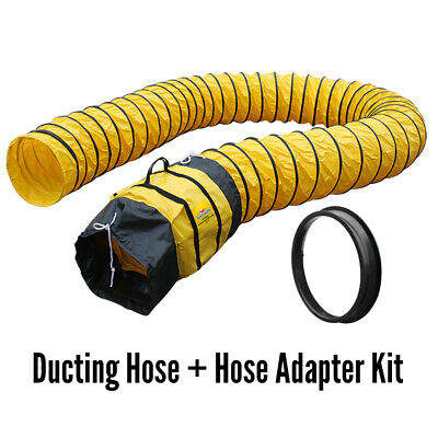"""XPOWER 16DH15 16"""" Diameter 15 Ft Portable Ducting Hose + Axial Fan Adapter Kit"""