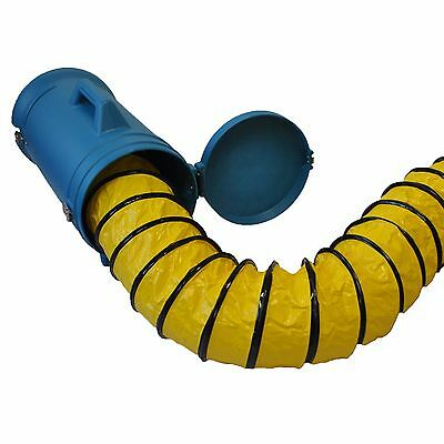 """XPOWER 8DHC25 8""""25' Flexible Confined Space Ducting Hose w/ carrier for Man Hole"""